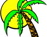 Desenho Verão pintado por coqueiro da Marcela