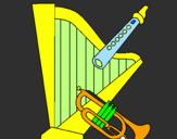 Desenho Harpa, flauta e trompeta pintado por Danielle oliveira Gama
