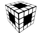 Desenho Cubo de Rubik pintado por cubo