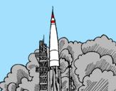 Desenho Lançamento foguete pintado por foguete