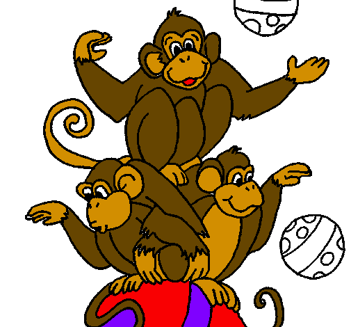 Desenho Macacos a fazer malabarismos pintado por ENZO