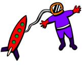 Desenho Foguete e astronauta pintado por pepe