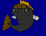 Desenho Piranha de três olhos pintado por Rômulo Falcão