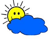 Desenho Sol e nuvem pintado por Lembrancinha do sol