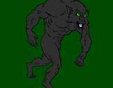 Desenho Homem lobo pintado por lobisomem
