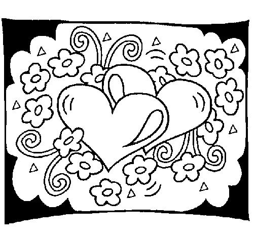 Corações e flores