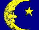 Desenho Lua e estrela pintado por matilde