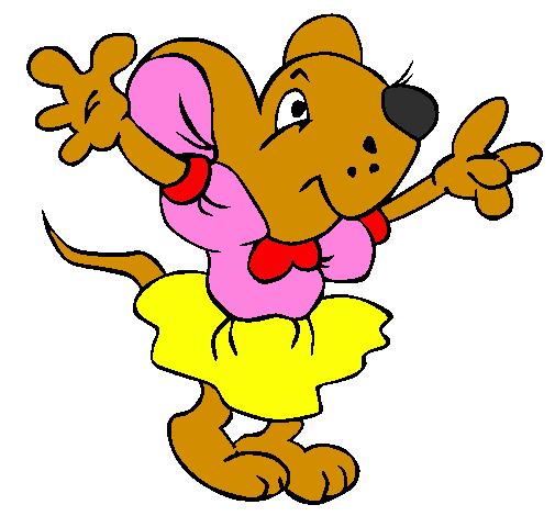 desenho de rata com vestido pintado e colorido por usuário não