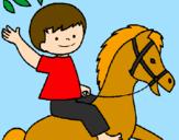 Desenho Cavalo pintado por MENINO E CAVALO
