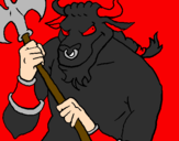 Desenho Minotauro pintado por sergo  malandro