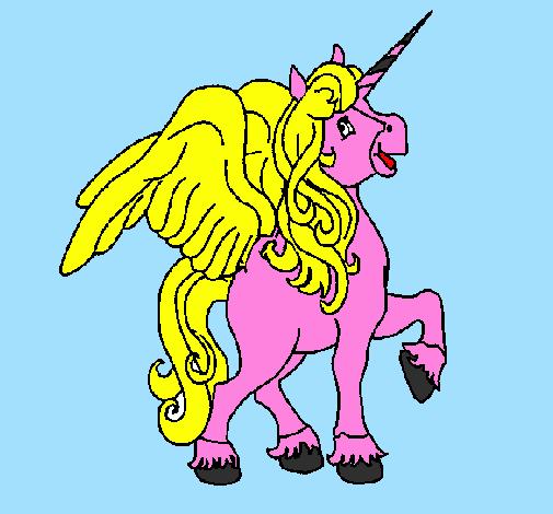 Desenho Unicórnio com asas pintado por ponei