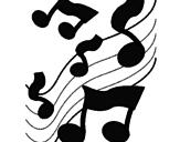 Desenho Notas na escala musical pintado por lau notas musicais