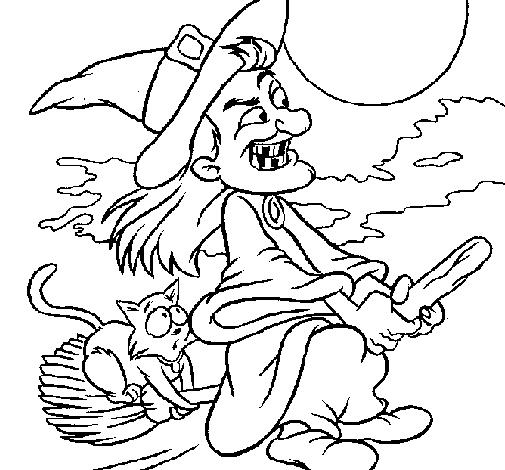 Desenho de Bruxa a voar pintado e colorido por Usuário não ...