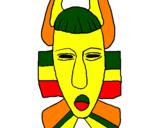 Desenho Máscara africana pintado por trabalho ARTE AFRICANA aú