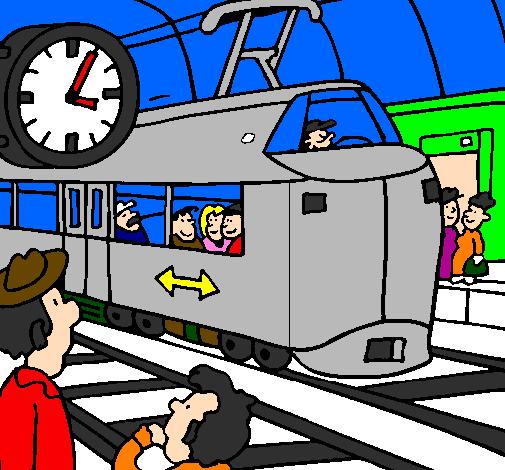 desenho de estação de caminhos de ferro pintado e colorido por