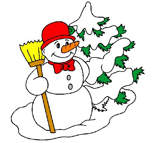 Desenho De Boneco De Neve E árvore De Natal Pintado E