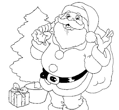 Desenho De Santa Claus E Uma árvore De Natal Pintado E