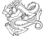 Desenho Dragão japonês pintado por por pintar