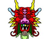 Desenho Cara de dragão pintado por dfdf