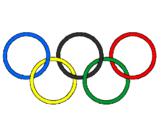 Desenho Argolas dos jogos olimpícos pintado por o simbolo das olimpiadas