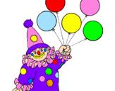 Desenho Palhaço com balões pintado por lorenna