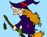 Desenho Bruxa em vassoura voadora pintado por gui