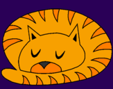 Desenho Gato a dormir pintado por samira