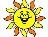 Desenho Sol contente pintado por sol colorido