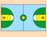 Desenho Quadra pintado por quadra de basquete