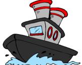 Desenho Barco no mar pintado por navio