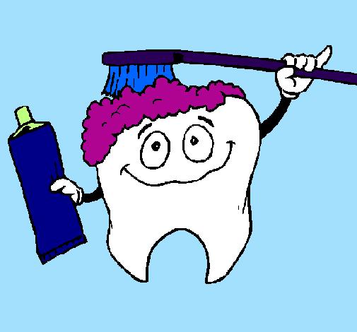 Desenho Dentes a serem limpos  pintado por ca