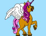 Desenho Unicórnio com asas pintado por AMANDINHA