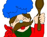 Desenho Chefe com bigode pintado por CATARINA