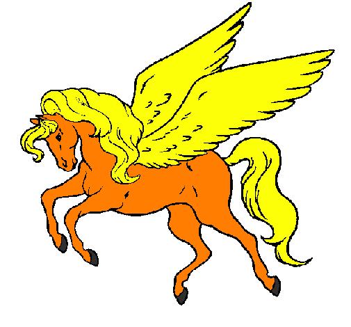 desenho de pégaso a voar pintado e colorido por usuário não