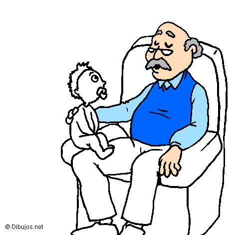 Desenho de Avô e neto pintado e colorido por Usuário não registrado ...