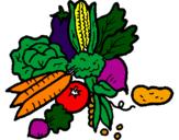 Desenho verduras pintado por legumes e verduras