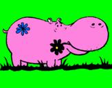 Desenho Hipopótamo com flores pintado por popota