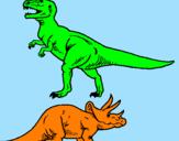 Desenho Tricerátopo e tiranossauro rex pintado por LAURA