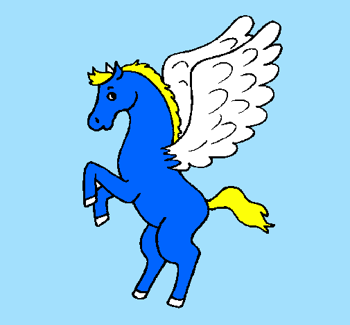 Desenho Pégaso sobre duas patas pintado por ponei bebe
