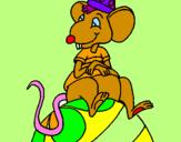 Desenho Rato em cima da bola pintado por sara l. guedes