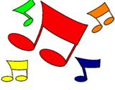 Desenho Notas musicais pintado por suhelen
