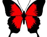 Desenho Borboleta com asas negras pintado por ana clara
