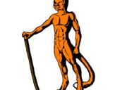 Desenho Homem leão pintado por fabão