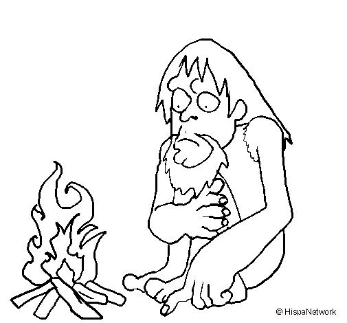 desenho de descoberta do fogo pintado e colorido por usuário não