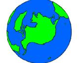 Desenho Planeta terra pintado por Larissa