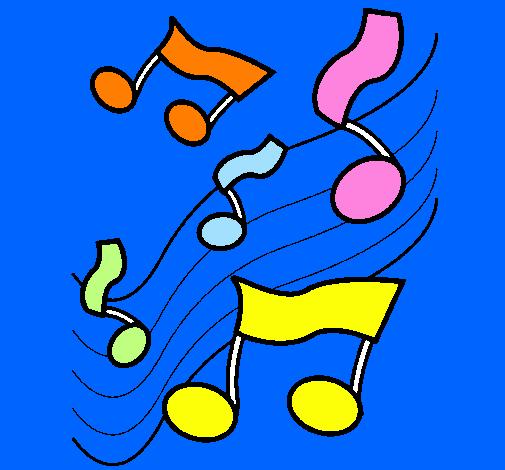 Desenho Notas na escala musical pintado por nota musical colorida