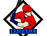 Desenho Logo de basebol pintado por mano