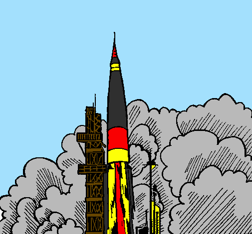 Desenho Lançamento foguete pintado por israel