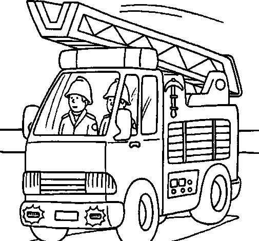 Desenho Carro de Bombeiros pintado por bombeiro