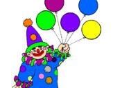 Desenho Palhaço com balões pintado por palhaço